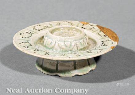 Korean Inlaid, Incised and Molded Celadon Cup Stand, probably Goryeo Dynasty (918-1392), foliate