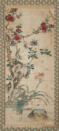 Korean School (Joseon Dynasty, 19th c.), \Birds and Butterflies amid Rocks and Tree Peonies\, ink