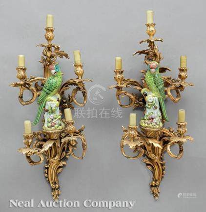 Louis XV-Style Gilt Bronze and Porcelain-Mounted Five-Light Sconces, floriform candlearms,