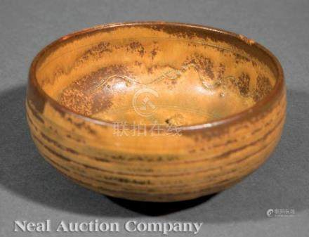Japanese or Chinese Greenish-Yellow and Russet Glazed Pottery Bowl, exterior carved with