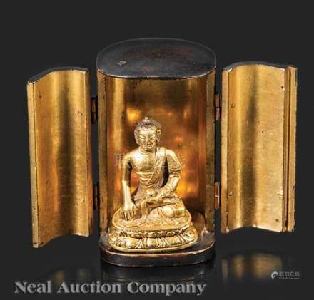 Antique Miniature Japanese Gilt Bronze Buddha in Lacquer Shrine, probably Shaka Nyorai, cast