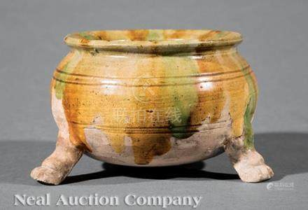 Chinese \Sancai\ Glazed Pottery Tripod Censer, probably Tang Dynasty (618-907), everted rim,