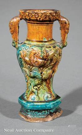Chinese \Sancai\ Glazed Molded Pottery Altar Vase, probably Tang Dynasty (618-907), mask-loop
