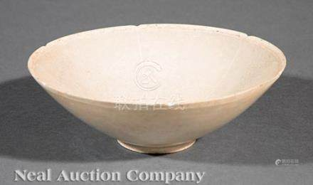 Chinese Qingbai Pottery Bowl, probably Song Dynasty (960-1279), thin walled body with unglazed