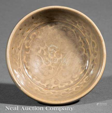 Chinese Molded Yaozhou Celadon Porcelain Bowl, probably Song Dynasty (960-1279), rounded body with