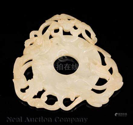 Chinese White Jade Bi Disk, Qing Dynasty (1644-1911), round body encircled by a dragon, a phoenix,