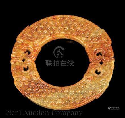 Chinese Russet and Green Jade Bi Disk, probably Qing Dynasty (1644-1911), carved as two twin-
