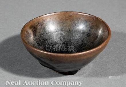 Chinese Russet Streaked Black Glazed \Temmoku\ Stoneware Bowl, probably Song Dynasty (960-1279),