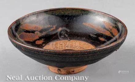 Chinese Russet Splashed Black Glazed Stoneware Bowl, probably Song Dynasty (960-1279), interior with