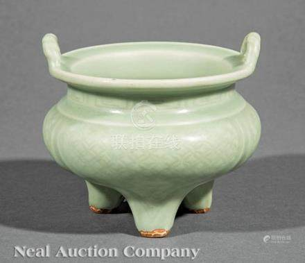 Chinese Celadon Porcelain Tripod Censor, probably Ming Dynasty (1644-1911), \rope-twist\ loop