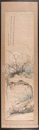 Chinese School, probably 19th c., \Rocks and Seasonal Grasses\, ink and color on paper, inscribed