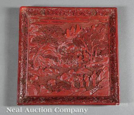 Chinese Cinnabar Lacquer Tray, Qing Dynasty (1644-1911), carved with figures in a landscape with