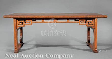 Chinese Hardwood Recessed-Leg Table-Form Stand, probably 19th c., rectangular plank top, openwork