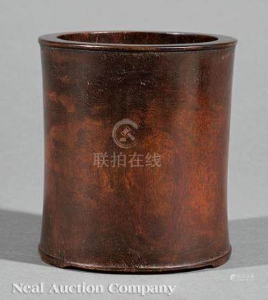 Chinese Hardwood Brush Pot, Qing Dynasty (1644-1911), probably zitan, cylindrical body with beaded