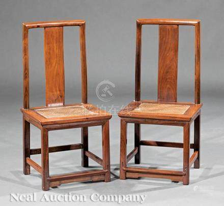 Pair of Chinese Hardwood Child's Side Chairs, Qing Dynasty (1644-1911), probably Huanghuali,
