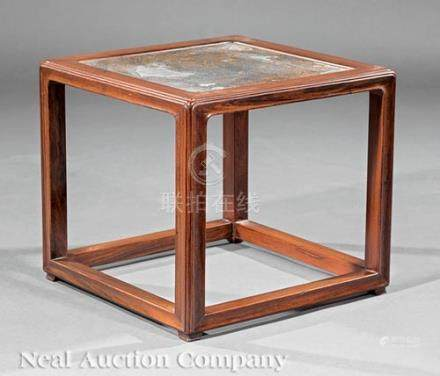 Chinese Hardwood Stool, Qing Dynasty (1644-1911), inset panel covered with woven matting,