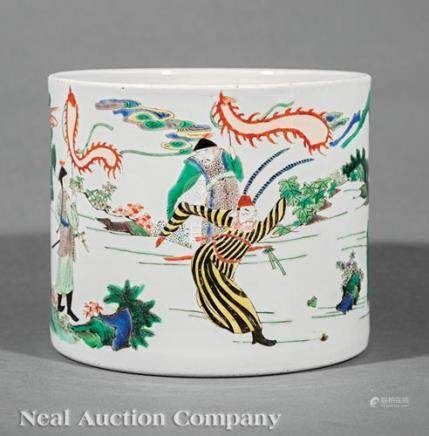 Large Chinese Famille Verte Porcelain Brush Pot, 19th/20th c., decorated with entertainers and