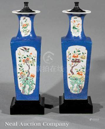 Pair of Chinese Famille Verte Powder Blue Ground Porcelain Square Vases, Qing Dynasty (1644-1911),