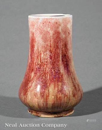 Chinese Flambe Glazed Porcelain Vase, Qing Dynasty (1644-1911), purple and green streaked copper red