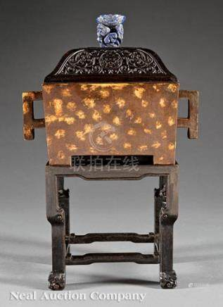 Chinese Gilt Splashed Bronze Censer, rectangular body with square loop handles, base with apocryphal