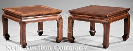Pair of Chinese Hardwood Stools, late Qing Dynasty (1644-1911), waisted square panel top, curved