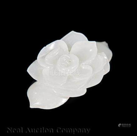 Chinese White Jade Applique or Button, Qing Dynasty (1644-1911), carved in the form of an open lotus