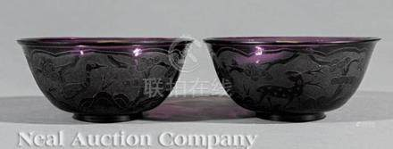 Pair of Chinese Amethyst Glass Bowls, Qing Dynasty (1644-1911), etched with scenes of deer and