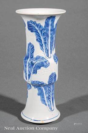 Chinese Blue and White Porcelain Gu Vase, 19th c., decorated with cabbage, base with Kangxi mark, h.