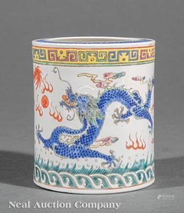 Chinese Polychrome Porcelain Brush Pot, late 19th/early 20th c., decorated with dragons in pursuit