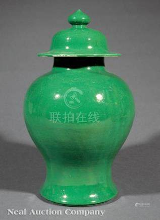 Chinese Green Glazed Porcelain Covered Baluster Vase, Qing Dynasty (1644-1911), overall rich
