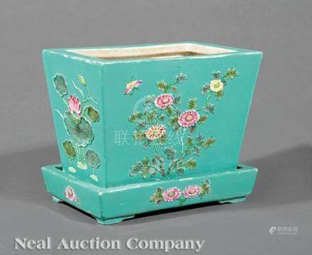 Chinese Famille Rose Turquoise Ground Porcelain Jardiniere and Stand, early 20th c., molded with