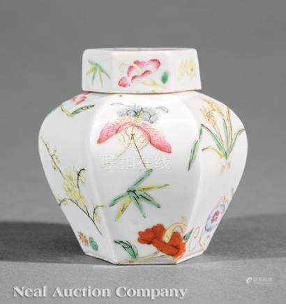 Chinese Famille Rose Porcelain Miniature Hexagonal Jar and Cover, probably early 20th c., delicately