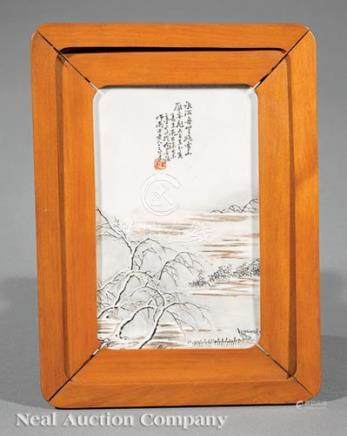 Chinese Grisaille and Umber Painted Porcelain Plaque, 20th c., decorated in the qianjiang-style with