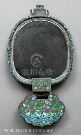 Chinese Enamel Decorated Metal Hanging Mirror, late 19th/early 20th c., rounded mirror back and