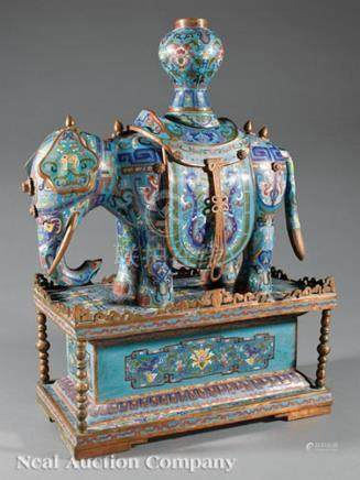 Large Chinese Cloisonne Enamel Elephant on Stand, early-to-mid 20th c., caparisoned figure modeled