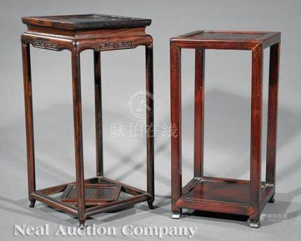 Two Chinese Hardwood Display Stands, each with square top and low shelf, h. 15 1/2 in. and 16 7/8