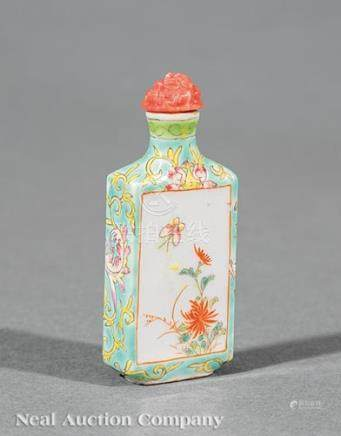 Chinese Famille Rose Porcelain Snuff Bottle, early 20th c., decorated with insect and flower panels,