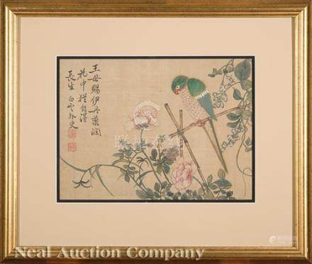 Chinese School, 20th c., \Green Parrot amid Flowers and Vines\, ink and color on silk, inscribed and