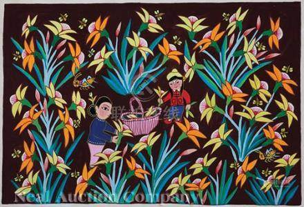 Three Chinese Huxian Folk Paintings, 20th c., incl. \Picking Flowers\, \Yellow Ducks\ and \White