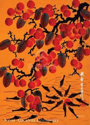 Six Chinese Huxian Folk Paintings, 20th c., incl. \Fish beneath Fruiting Branches\, \Goats and