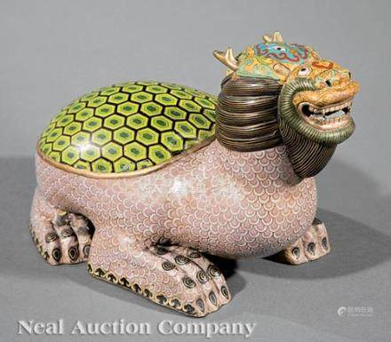 Large Chinese Cloisonne Enamel Dragon Turtle, h. 9 1/2 in., w. 15 in. Provenance: New Orleans