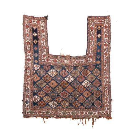 AN AFSHAR FLATWEAVE HORSE COVER, IRAN, CIRCA 1920 condition : good, wear to edges and fringes 170 by