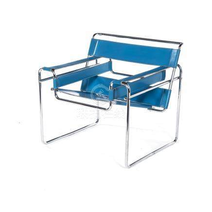 A WASSILY CHAIR DESIGNED IN 1925 BY MARCEL BREUER the blue leather back and seat on a tubular
