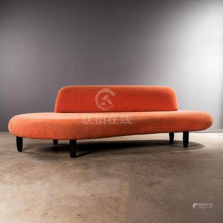 A FREEFORM SOFA DESIGNED IN 1946 BY ISAMU NOGUCHI the fabric upholstered sofa on metal feet 245cm