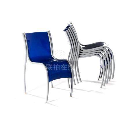 A SET OF SIX BLUE FANTASTIC PLASTIC ELASTIC CHAIRS DESIGNED BY RON ARAD FOR KARTELL each curved back