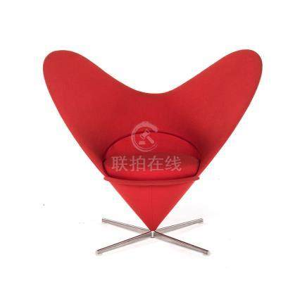 A HEART CONE CHAIR DESIGNED IN 1959 BY VERNER PANTON the heart-shaped back on a cone-shaped base