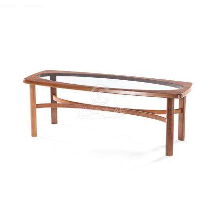 A TEAK COFFEE TABLE MANUFACTURED BY NATHAN FURNITURE, 20TH CENTURY the shaped rectangular top with