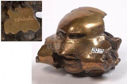"""""""Airplane head"""" en bronze doré. Signé Félix Roulin et numéro"""