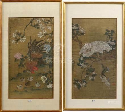 """Paire de kakémonos """"Coq et oiseau blanc"""" plume d'encre et go"""