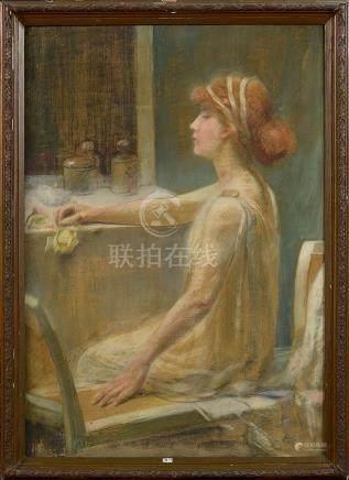 """""""Femme à sa toilette"""" pastel sur toile. (Taches). Ecole fran"""